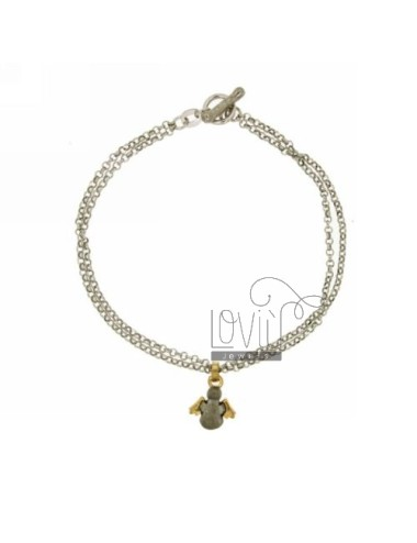 ROLO BRACELET &39DIAMOND 2 WIRES WITH ANGEL SATIN GOLD SILVER RHODIUM PLATED INSERTS TIT 925 ‰ CLOSING T.BARR