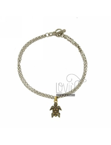 ROLO BRACELET &39DIAMOND 2 WIRES WITH TURTLE SATINATA INSET GOLD PLATED SILVER RHODIUM TIT 925 ‰ CLOSING T.BARR