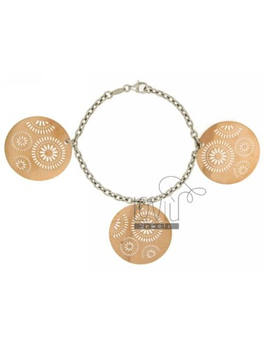 CABLE BRACELET WITH A ROUND PLATE.THROUGH ROSE GOLD PLATED SILVER RHODIUM TIT 925 ‰ CM 19