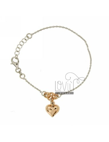 CABLE BRACELET WITH HEART ROSE GOLD PLATED SILVER RHODIUM TIT 925 ‰ CM 19