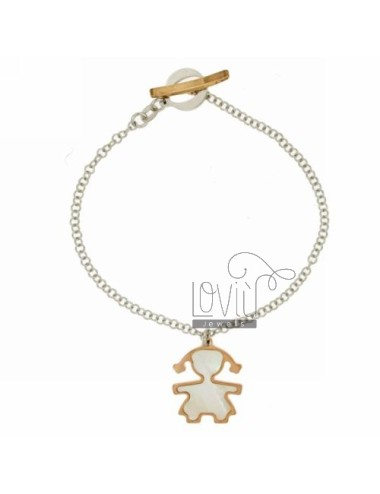 ROLO BRACELET &39FLUSH WITH GIRL WITH INSERTS IN PEARL ROSE GOLD PLATED SILVER RHODIUM TIT 925 ‰ CLOSING T.BARR