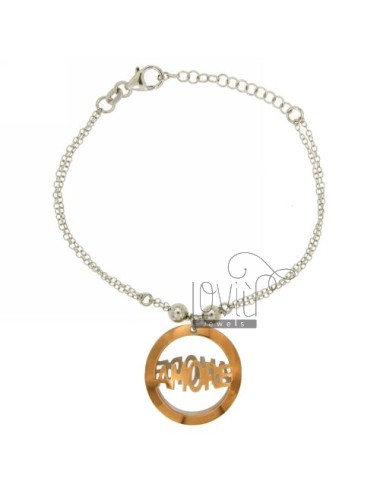 BRACELET CABLE 2.WIRE WITH ROUND TRAFORATO LOVE PINK GOLD PLATED SILVER RHODIUM TIT 925 ‰ CM 18