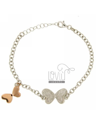 CABLE BRACELET WITH BUTTERFLIES AND SILVER RHODIUM PLATED ROSE GOLD 925 ‰ TIT CM 18
