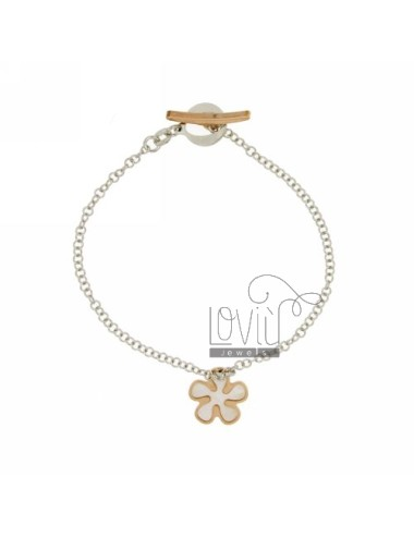 ROLO BRACELET &39WIRE WITH FLOWER WITH INSERTS IN PEARL ROSE GOLD PLATED SILVER RHODIUM TIT 925 ‰ CLOSING T.BARR