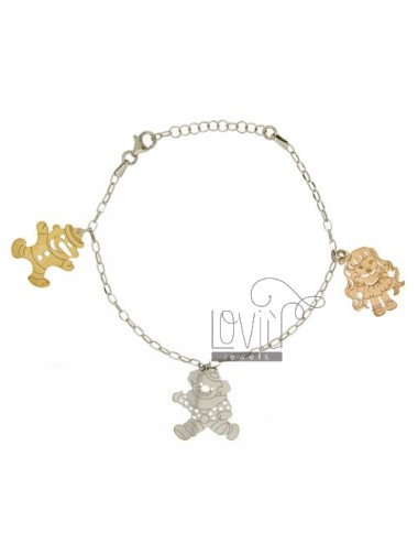 CABLE BRACELET WITH PINOCCHIO.CLOWN.DOLL IN SILVER TRICOLORE TIT 925 ‰ CM 19