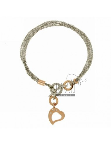 MICRO ROLO BRACELET &39WITH HEART GOLD PLATED ROSE AND ZIRCONIA SILVER RHODIUM TIT 925 ‰ CLOSING T.BARR