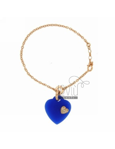 CABLE BRACELET WITH HEART IN BLUE WITH SILICON APPLICATION WITH ZIRCONIA SILVER ROSE GOLD PLATED TIT 925 ‰ CM 18