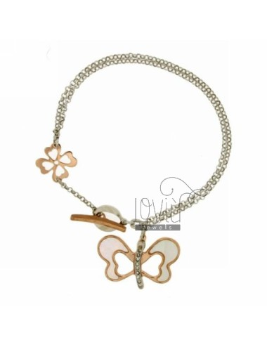 ROLO BRACELET &39BUTTERFLY WITH INSERTS AND MOTHER OF PEARL SWAROVSKI PLATED ROSE GOLD SILVER RHODIUM TIT 925 ‰ CLOSING T.BARR