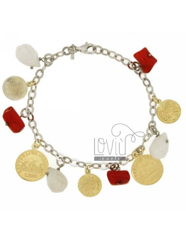BRACELET WITH CABLE BEAT DROPS COINS IN WHITE AGATE AND FLAKES OF FAKE CORAL PENDING IN SILVER AND GOLD PLATED RHODIUM TIT 925 ‰