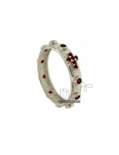 RING ROSARY WITH BEANS WITH ZIRCONIA RED SILVER RHODIUM 925 ‰ MEASURE 10
