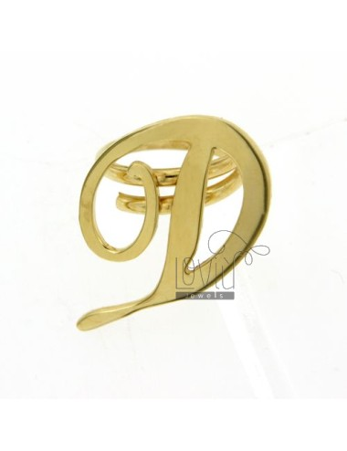RING ADJUSTABLE LETTER &quotD&quot IN GOLD PLATED TIT 925 ‰