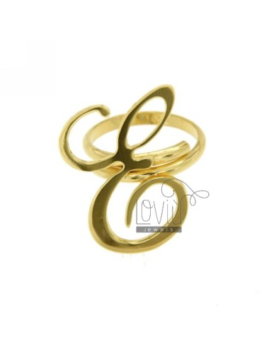 RING ADJUSTABLE LETTER &quotE&quot IN GOLD PLATED TIT 925 ‰