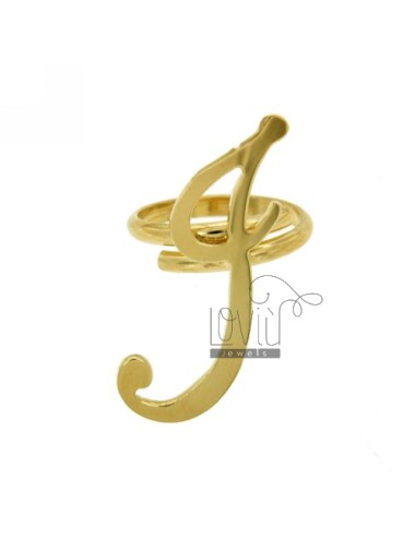 RING ADJUSTABLE LETTER &quotI&quot IN GOLD PLATED TIT 925 ‰