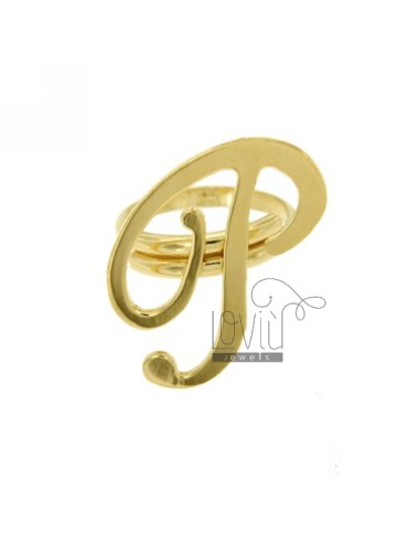 RING ADJUSTABLE LETTER &quotP&quot SILVER GOLD PLATED TIT 925 ‰