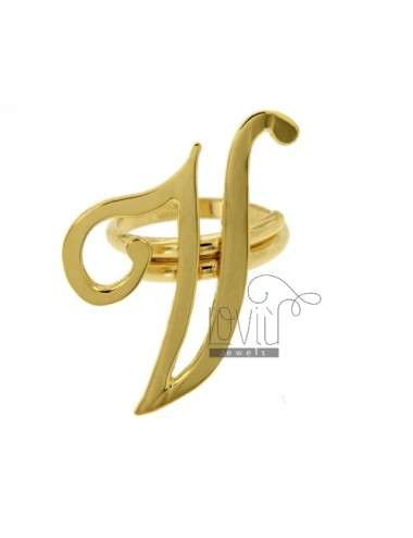 RING ADJUSTABLE LETTER &quotV&quot SILVER GOLD PLATED TIT 925 ‰
