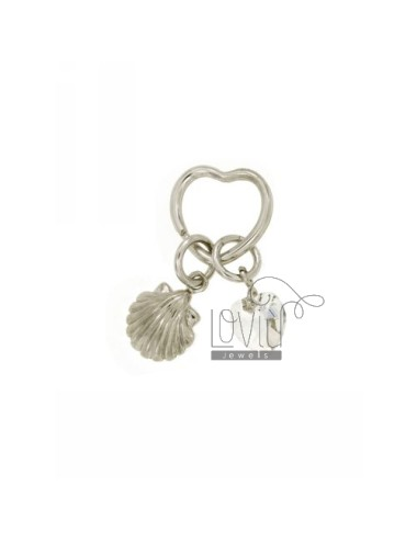 KEY RING WITH BRISE &39HEART, AND SHELL CUORICINO CRYSTAL SILVER RHODIUM AND GOLD PLATED TIT 925 ‰