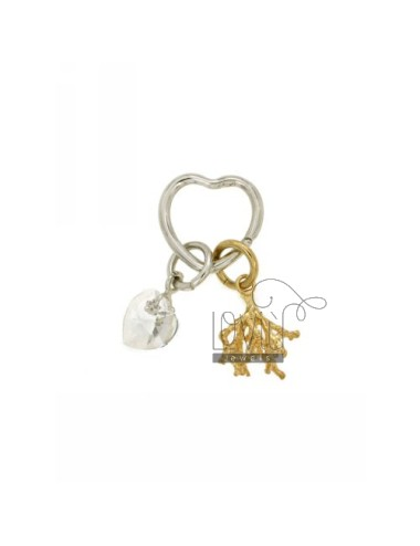 KEY RING WITH BRISE &39HEART, AND BRANCH RORALLO CUORICINO CRYSTAL SILVER RHODIUM AND GOLD PLATED TIT 925 ‰