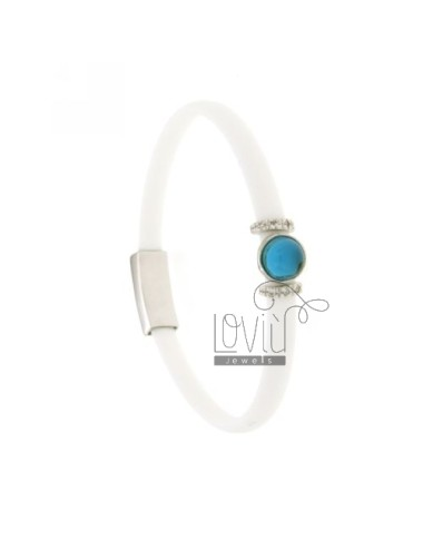 BRACELET RUBBER &39WHITE WITH CENTRAL ROUND STONE HYDROTHERMAL AND BRIDGES SIDE WITH ZIRCONIA SILVER RHODIUM TIT 925 ‰