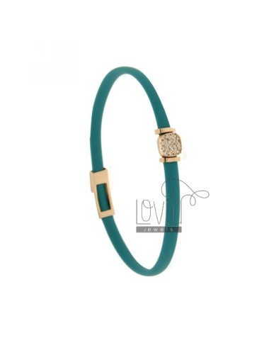 BRACELET RUBBER &39TURQUOISE WITH middle handle zirconate SILVER ROSE GOLD PLATED TIT 925 ‰