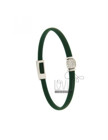 BRACELET RUBBER &39GREEN BOTTLE WITH middle handle zirconate SILVER RHODIUM TIT 925 ‰