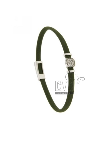 BRACELET RUBBER &39WITH OLIVE middle handle zirconate SILVER RHODIUM TIT 925 ‰