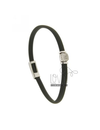 BRACELET RUBBER &39GREY WITH middle handle zirconate SILVER RHODIUM TIT 925 ‰
