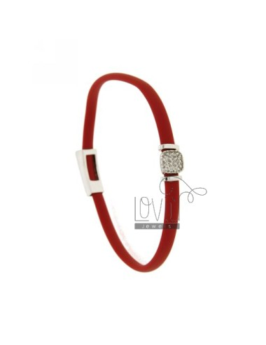 BRACELET RUBBER &39RED WITH middle handle zirconate SILVER RHODIUM TIT 925 ‰