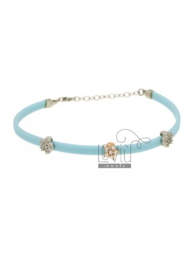 BRACELET RUBBER &39CELESTE WITH THREE PARTITIONS zirconates SILVER PLATED ROSE GOLD AND RHODIUM TIT 925 ‰ CM 17.19