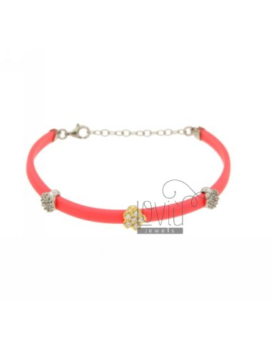 BRACELET RUBBER &39FLUO PINK WITH THREE PARTITIONS zirconates SILVER AND GOLD PLATED RHODIUM TIT 925 ‰ CM 17.19