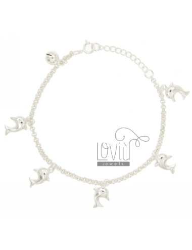 ROLO BRACELET &39WITH DOLPHINS AND RATTLE PENDANT SILVER 925 ‰ TIT CM 18