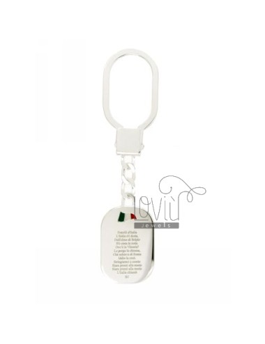 KEY RING WITH OVAL HYMN OF ITALY AND GLAZED TRICOLORE SILVER TIT 925
