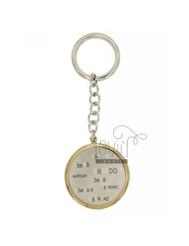 KEY RING ROUND FREEDOM &39IN ALL LANGUAGES WITH JERSEY BRISE&39 SILVER PLATED RHODIUM AND GOLD TIT 925