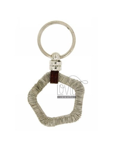 KEY RING WITH PENTAGON WIRE MESH BRISE &39AND LEATHER SILVER RHODIUM TIT 925