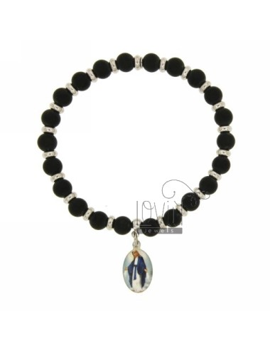 ELASTIC BRACELET WITH BALLS IN HARD STONE BLACK SATIN WITH 6 MM MADONNINA PENDANT SILVER RHODIUM TIT 925 ‰