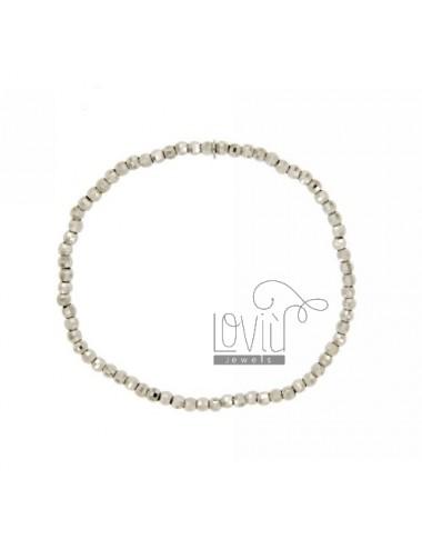 ELASTIC BRACELET WITH DIAMOND BALL 3 MM IN AG TIT RHODIUM 925 ‰