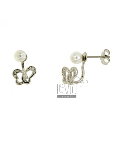 EARRINGS EAR CUFF.BEAD AND FARFALLINA SILVER RHODIUM TIT 925 ‰ AND ZIRCONIA