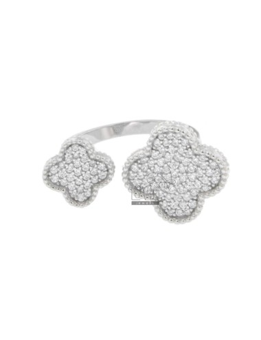 DOUBLE FLOWER RING WITH...