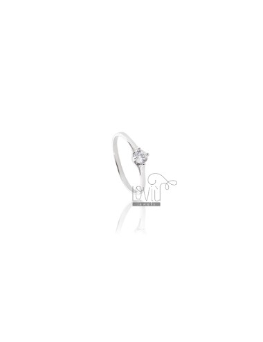 RING O FALANGE MIGNOLO SOLITARY SILVER RHODIUM TIT 925 ‰ WITH ZIRCONE MEASURE 9