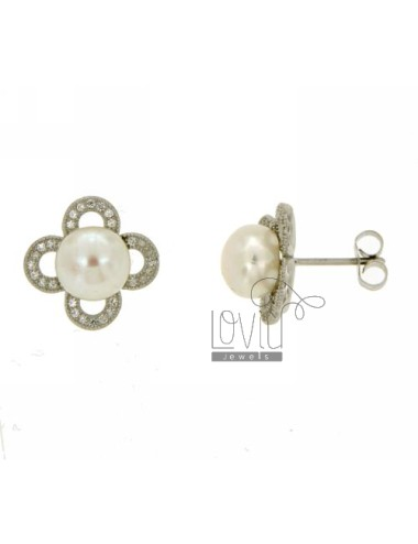LOBO SILVER EARRINGS FLOWER RODIATO TIT 925 ‰, ZIRCONIA AND PEARL