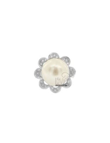 FLOWER RING WITH PEARL...