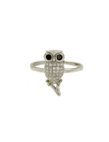 OWL RING IN SILVER RHODIUM...