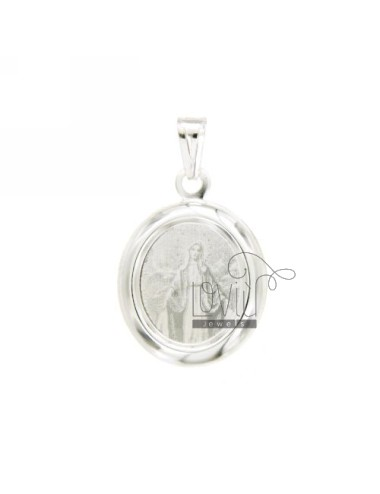 PENDANT OVAL 22X20 MM LOURDES MADONNA PRINTED IN SILVER TIT 925 ‰