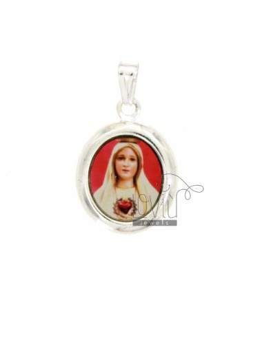 PENDANT OVAL 22X20 MM LADY OF THE SACRED HEART IN SILVER TIT 925 ‰ AND RESIN