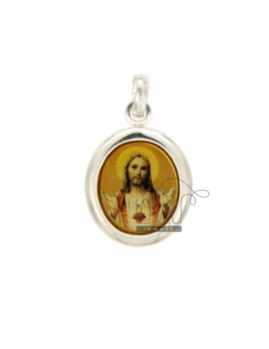 PENDANT OVAL 22X20 MM JESUS &39SILVER TIT 925 ‰ AND RESIN