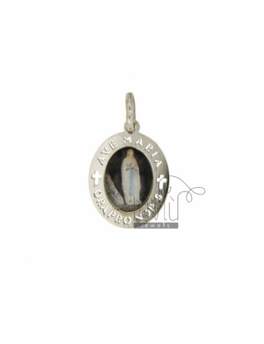 PENDANT OVAL 18X15 MM WITH LADY OF FATIMA IN SILVER RHODIUM TIT 925 ‰ AND RESIN