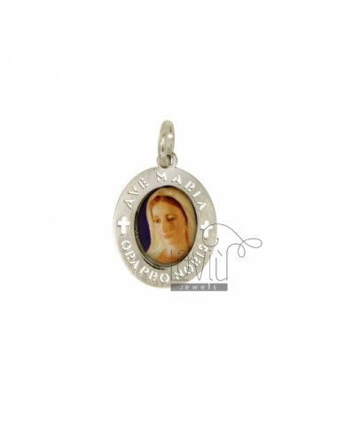 PENDANT OVAL 18X15 MM FACE WITH MADONNA MEDJUGORJE SILVER RHODIUM TIT 925 ‰ AND RESIN