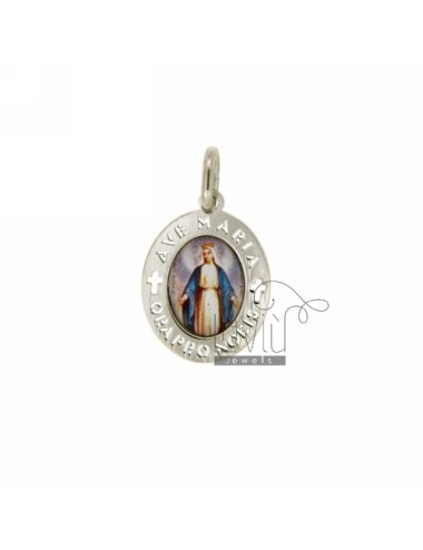 PENDANT OVAL 18X15 MM WITH LADY OF LOURDES SILVER RHODIUM TIT 925 ‰ AND RESIN