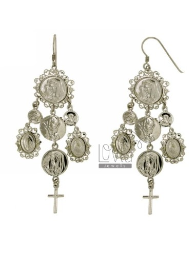 EARRINGS WITH MADONNE, PUTTINI AND CROSS MM 90X37 SILVER RHODIUM TIT 925 ‰