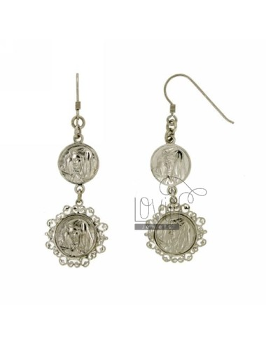 EARRINGS WITH MADONNE MM 60X21 SILVER RHODIUM TIT 925 ‰