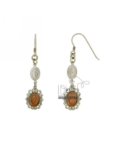 EARRINGS WITH MADONNE MM 54X13 SILVER RHODIUM AND GOLD PLATED PINK TIT 925 ‰